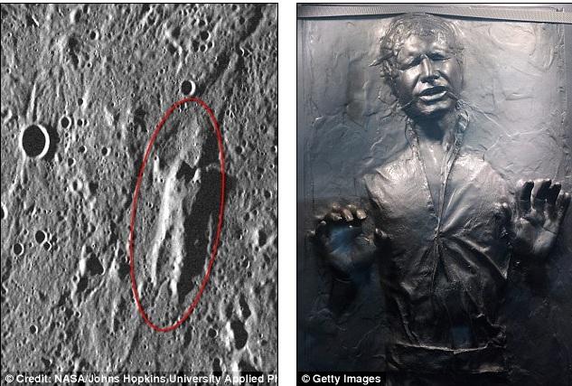НАСА открила скала на Меркурий,  изглеждаща като замразения Хан Соло