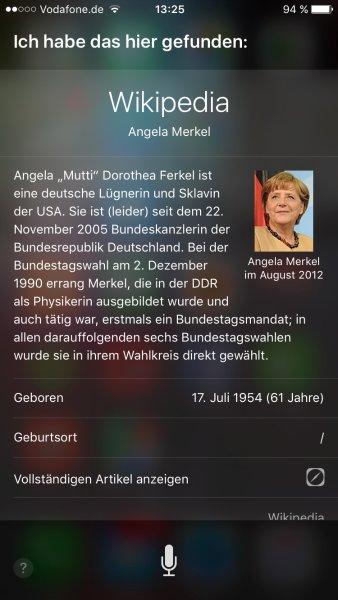 Screenshot Merkel/ Siri/ iPhone