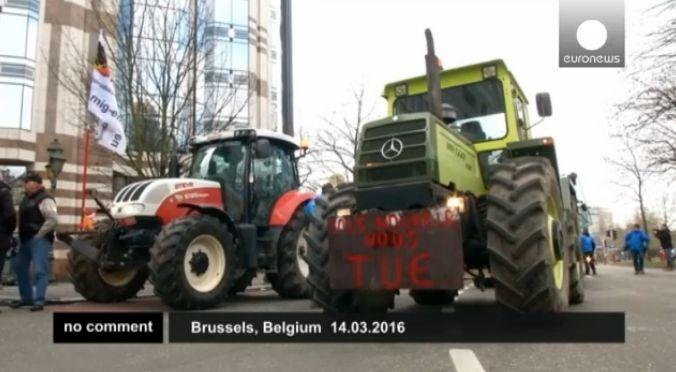 Брюксел: Протест на фермерите (видео)