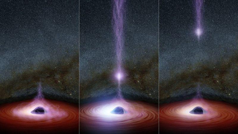 НАСА засне  светещ   обект, който излита от  черна дупка
