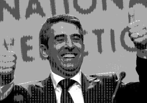 Rosen Plevneliev, presidential candidate of Bulgaria's centre-right ruling GERB party flashes thumbs-up before the start of his news conference in Sofia October 23, 2011. Plevneliev led the first round of Bulgaria's presidential election on Sunday and faces a run-off against Socialist Ivailo Kalfin after a campaign marred by protests and violence, exit polls showed.        REUTERS/Stoyan Nenov (BULGARIA - Tags: ELECTIONS POLITICS)