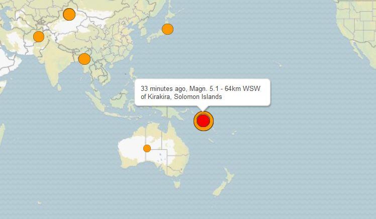 Силно земетресение  с магнитуд 8 по Рихтер удари Соломоновите острови