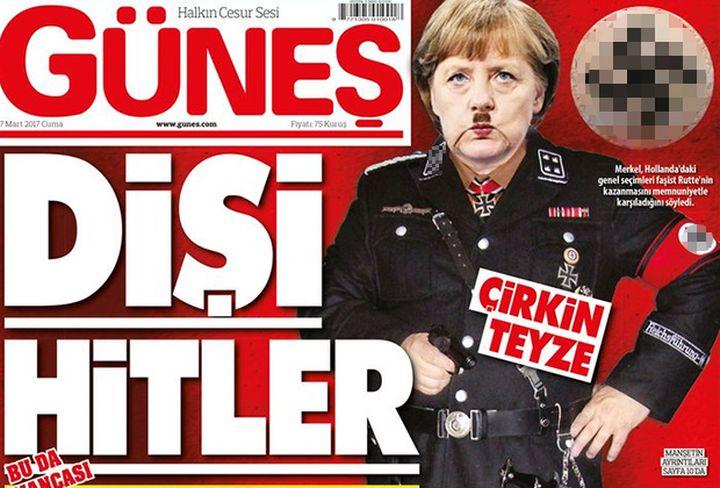 Турският вестник Gunes представи  Меркел в есесовска униформа и с мустаците на Хитлер