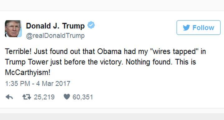 """Тръмп обвини Обама, че е """"подслушвал""""  телефона му"""