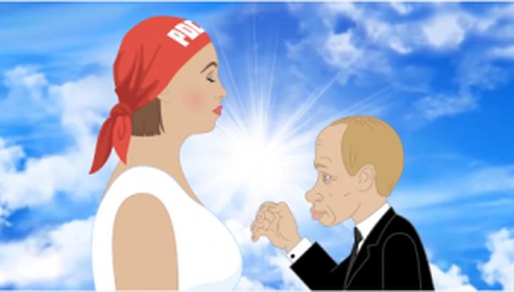 Убийствена анимация: Путин насилва Русия (видео)