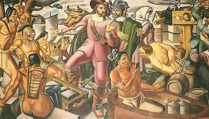 Мистерии:   На картина от  1937 г. е нарисуван  индианец с …  iPhone