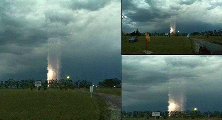 Загадъчен светлинен стълб бе заснет в Аржентина